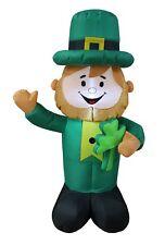 St Patrick's Led Air Blown Inflatable Yard Decoration Leprechaun holds Shamrock