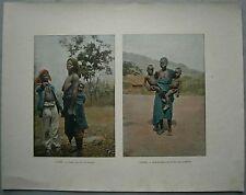 ca.1895 French photochrom WOMEN WITH CHILDREN, DAHOMEY BENIN (#422)