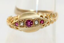 C1916 18ct Gold Diamond Ruby Ring by Chester Henry Griffith & Sons Ring Size L ½