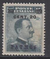 ITALY - Egeo - Patmos  SUPER CENTERED cv 155$ MH* 20 on 15 cent Sassone n.8