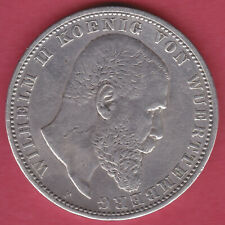 R* GERMANY WURTTEMBERG 5 MARK SILVER 1876 F VF DETAILS #N302