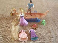 Polly Pocket Disney Rapunzel Flynn Rider Boat Lot Prince Princess Lot M51