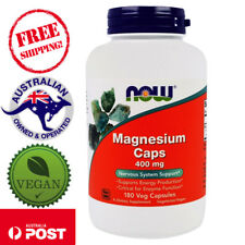 Now Foods, Magnesium Caps, 400 mg, 180 Vegan Caps - Nervous System Support*