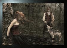 Victoria Frances Negro enmarcado Musica Wolf-imagen de fantasía 3D 465 Mm x 365 mm