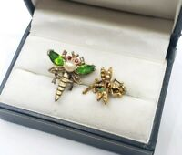 Vintage Dragonfly Jeweled Figural brooch Pin Set Of 2