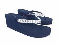 Cato C. Est. 1946 Womens Wedge Sandals Size 7 M Navy Faux Diamond Trim