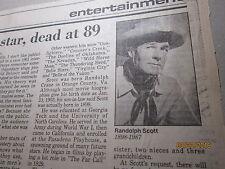 RANDOLPH SCOTT Dead at 89 Press Telegram  Newspaper article Pictures Clipping