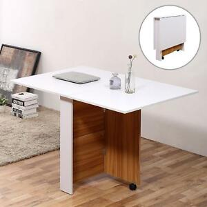 Drop Leaf Dining Table With Casters Kitchen Workstation Solid Folding Top White