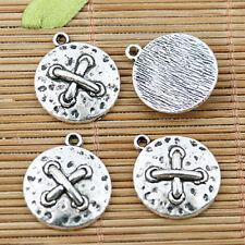 7pcs tibetan silver tone round cross pattern charms EF1724
