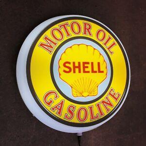 SHELL MOTOR OIL LED ILLUMINATED LIGHT BOX GARAGE SIGN GAS STATION AUTOMOBILIA