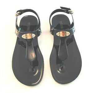 New MICHAEL KORS Sandals PLATE Thong Sandals Jelly Black w/Gold Accents 7 8 9 10