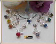 Wine Glass Glasmarker Rhinestones Guardian Angel Guest Gift Jewelry Charm Silver