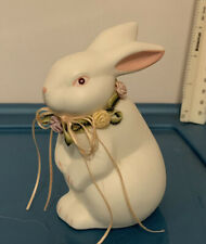 Decorative Rabbit - White with Floral Collar - Ceramic Material