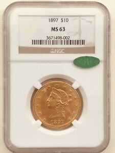 1897 $10 Gold Eagle: NGC MS-63 CAC