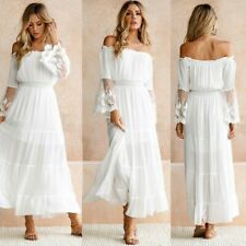UK Women Plain Lace Maxi Dress Beach Party Boho Holiday Ladies Summer Long Dress