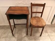 VINTAGE ANTIQUE Traditional TELEPHONE ENTRY FOYER DESK GOSSIP TABLE & CHAIR