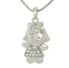 W Swarovski Crystal GIRL Sister Daughter Charm Love New Pendant Necklace Gift