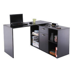 Rotating Computer Desk Black Wooden L-Shape Corner Office Table Storage Drawers
