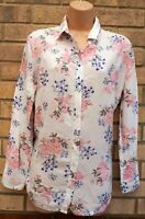 H&M WHITE PINK BLUE FLORAL LONG SLEEVE BUTTONED BAGGY T SHIRT BLOUSE TOP 10 S