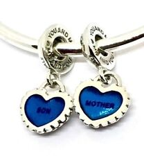 Genuine Authentic Pandora Mother & Son Love Hearts Dangle Charm S925 ALE