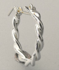 Small Sterling Silver 925 Double Wire Twist Creola Hoop Single Earring