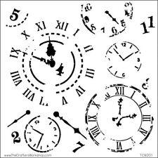 """Pochoir motif  -  """"Horloges"""" - 15X15 cm (6""""X6"""") - TCW"""