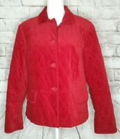 Talbots Womens Quilted Coat Corduroy Collar Button Up Lined Blazer Jacket Red 16
