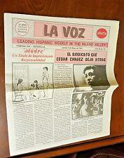LA VOZ Spanish Espanol Newspaper Pomona Inland Valley CESAR CHAVEZ 1993