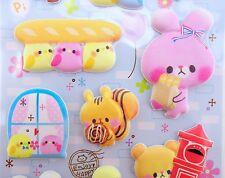 Japanese kawaii animal SUPER PUFFY stickers! Teddy bears, cats bunny rabbit bird