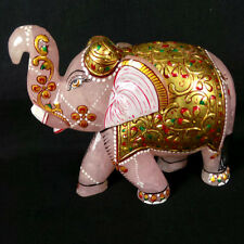 Elephant Sculpture Beautiful workmanship ART on Rose Quartz Gemstone 6215 carat