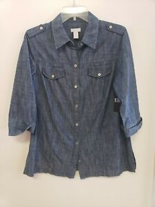 Chico's Blue Denim Button Front 3/4 Sleeve Collared Blouse Top Size 1 (US 8/10)