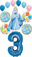Cinderella Party Supplies Princess 3rd Birthday Balloon Bouquet Decorations