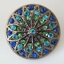 Fits Ginger Snap Blue Rhinestone Ginger Snaps Magnolia Vine 18mm Jewelry Button