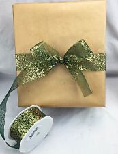 20m Roll Festive Christmas Metallic Organza 38mm Ribbon Great for Gift Wrapping Green/gold