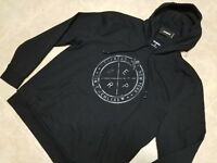 New EXPRESS Men Reflective Logo Cotton Fleece Hoodie Sweater Black Sz M,L,XL
