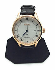 Seiko Men's Automatic SRP772 Rose Gold Tone & Black Leather Watch