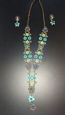 Collana e orecchini set in blu ceramica/vetro forma fiore pietre