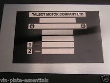 Talbot Sunbeam Hillman chasis placa Samba Horizon todo en blanco-VIN-chasis-placas