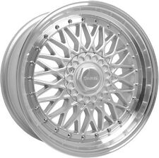 "Alloy Wheels 15"" Dare DR-RS Silver Pol Lip Chrome Rivets For VW Golf [Mk1] 74-84"