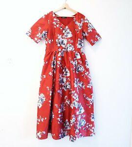 eShakti Size 16/XL Rust Black Grey Floral Sateen Short Sleeve Evening Maxi Dress