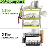 2/3 Tier Dish Plate Cup Drying Rack Organizer Drainer Storage Holder For Kitchen
