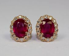 14k Rose Gold Oval Red Ruby With Halo Of White Diamond Halo Screw Back Earrings