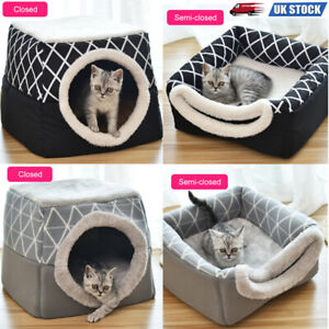 Pet Dog Cat Sleeping Nest Bed Warm Soft Puppy Cave House Closed Room Washable UK