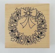 Rubber Stamp Christmas Wreath Holiday Doodle Scribble Holly Berries Wood Mounted