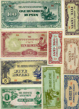 SET Burma 9 Notes 1-5-10 Cents + 1/4-1/2-1-5-10-100 Rupees, (1944) WWII, JIM UNC