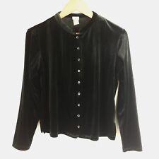 J. Jill Size XS Black Velour Button Down Collarless Blouse H