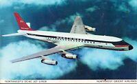 Vintage Aviation Postcard - Northwest Airlines DC-8C in Flight View