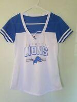 NEW NFL Team Apparel DETROIT LIONS  V-Neck Jersey Shirt Womens NWT