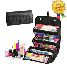 Roll-N-Go Cosmetics Makeup Bag Hanging Toiletries Pockets Travel Kit Jewelry Bag