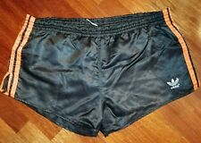 PANTALONCINI SHORTS ADIDAS  vintage NYLON shiny west GERMANY Black/Orange 7 size